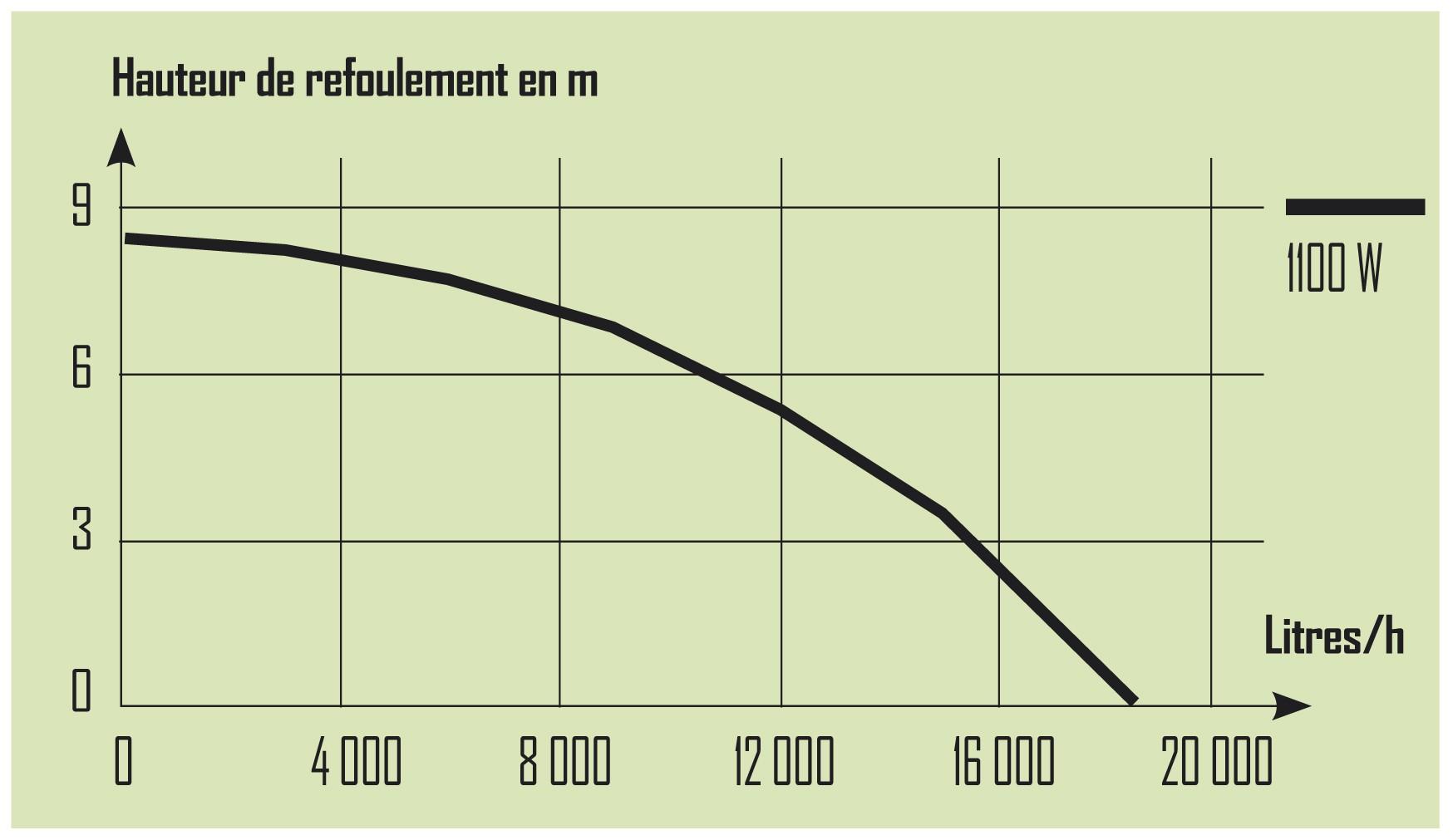 performance pompe 1100W