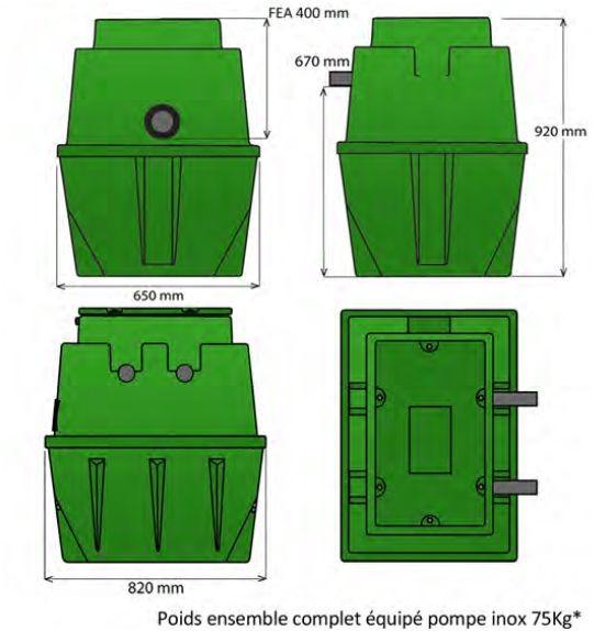 Dimension du poste sanirel 400