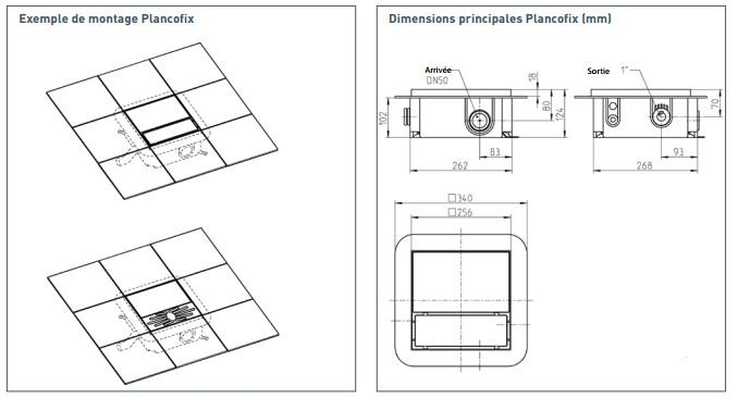Dimension station relevage douche italienne plancofix