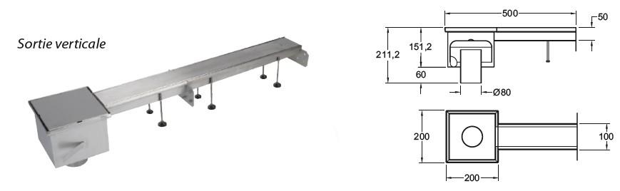 boite branchement evacuation extremité dn80 sortie verticale