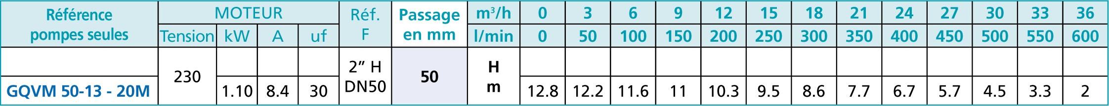 Caracteristique pompe GQVM 50-13