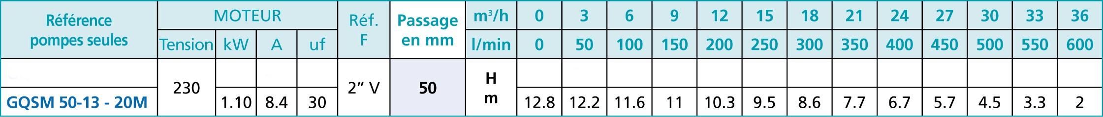 Caracteristique pompe GQSM 50-13