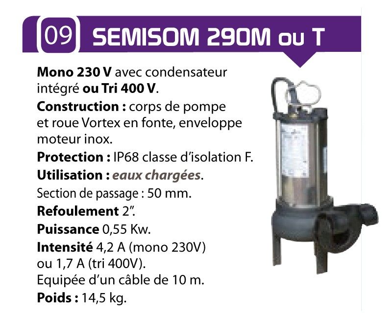caracteristique pompe semison 290