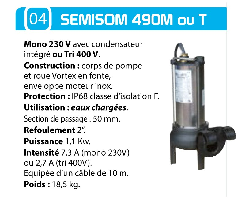 caracteristique pompe semison 490M ouT
